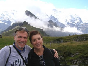alan kearl and beckie weinheimer at the swiss alps